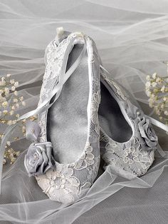 Satin Flower Girl Shoes -Flower Girl Toddle, Ballet Flats for Flower Girl Grey  Lace  Ballerina Slippers on Etsy, $35.00