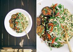 sticky teriyaki eggplant w/ herbed cashew + coconut rice » The First Mess