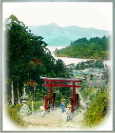 Hillside Torii above Lake Ashi and the Village of Hakone --  A Classic Image of Old Japan