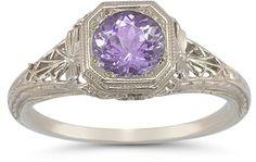 applesofgold.com - Vintage Filigree Amethyst Ring in .925 Sterling Silver $149.00