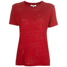 IRO 'Clay' T-shirt (5.105 RUB) ❤ liked on Polyvore featuring tops, t-shirts, linen tops, linen tee, short sleeve t shirt, linen t shirt and red tee