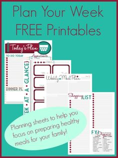 Plan Your Week Free Printables (FREE #PRINTABLES) Planning sheets to help you focus on preparing your family healthy meals. @ IntoxicatedOnLife.com
