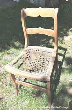 This shows a very detailed tutorial on how to add chicken wire to an old chair to hold flowers. Start with any old chair with an insert of some kind in the seat…