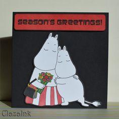 Moomins Hugging Hug Christmas Card Hand Drawn Not by ClazaInk #Moomins #Moominmamma #Hug Loving #Romance #MoominCard #Retro #Cartoon #ClazaInk #HandMade #HandDrawn