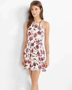 floral print high neck cut out fit and flare dress