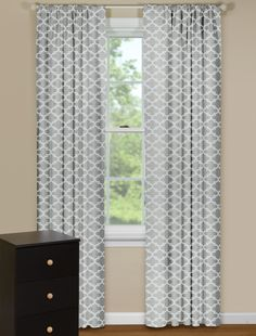 Modern Gray and White Curtain Panels with Geometric Design