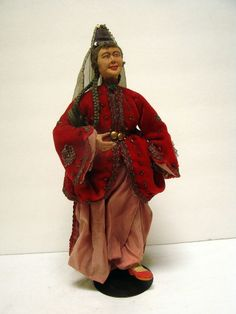 VTG Asian Chinese Doll Ceremonial Opera Composition Papier Mache Costume