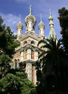 Russian church spires in San Remo, Italy