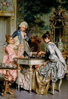 """""""Beim Schachspiel in Rokoko"""" von Arturo Ricci (geboren am 19. April 1854 in Florenz, gestorben im Jahr 1919 in Florenz), italienischer Maler von Genregemälden im Rokoko-Stil."""