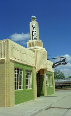 Route 66 - U Drop Inn Cafe at the Conoco Tower Station in Shamrock, Texas. Art Deco in the Panhandle.