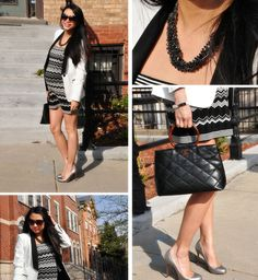 Red Soles and Red Wine - Chicago Fashion Style Blog: April 2012   Zara Blazer  |  Missoni for Target Dress  |  Christian Louboutin Pumps  |  Chanel Bag  |  t+j Designs Luxe Twisted Black Crystal Necklace (on sale)  special discount code below  |  Silver Edge Bangle