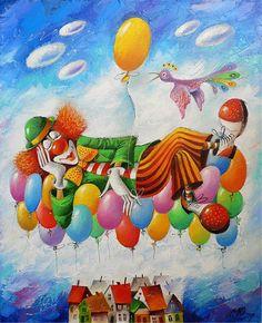 The symbol of the circus - clowns - paintings by Yuri Matsik