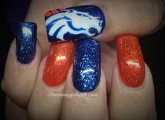 Broncos Nail Designs Gallery denver broncos nails dreaming of nails Broncos Nail Designs. Here is Broncos Nail Designs Gallery for you. Broncos Nail Designs denver broncos nails dreaming of nails. Winter Nail Designs, Gel Nail Designs, Cute Nail Designs, Orange Glitter, Orange Nails, Blue Nails, Denver Broncos Nails, Football Nails, Summer Toe Nails