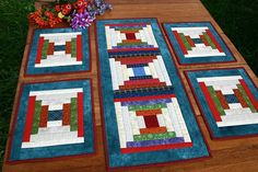 Courthouse Steps table setting -  quilted table runner - 6 table placemats: RESERVED FOR MARYANN. $84.90, via Etsy.