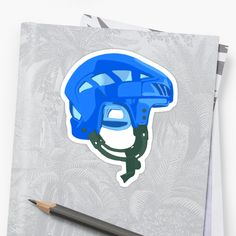 'Blue hockey helmet' Sticker by MimieTrouvetou Hockey Helmet, Canvas Prints, Art Prints, Laptop Sleeves, V Neck T Shirt, Classic T Shirts, Iphone Cases, Stickers, Hoodies