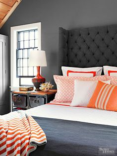 Gray and orange Bedroom. Gray and orange Bedroom. orange and Gray Bedroom Design Cottage Bedroom Dark Gray Bedroom, Bedroom Orange, Charcoal Bedroom, Home Bedroom, Master Bedroom, Bedroom Decor, Bedroom Ideas, Cat Bedroom, Bedroom Designs