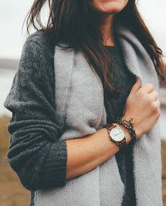 Oversized leather watch and bracelets. Source: areasonablydressedwoman