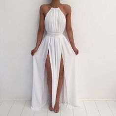 White Chiffon Prom Dress,Gold Necklace Halter Side Slit Maxi Prom Dresses,Long Prom Dress, Lace Up Party Dress, Formal Dresses With Backless Pretty Dresses, Sexy Dresses, Beautiful Dresses, Prom Dresses, Summer Dresses, Dresses 2016, Dress Prom, Party Dress, Summer Outfits