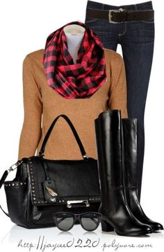"""""""Plaid Infinity Scarf, Camel and Black"""""""