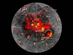 Planet Mercury, shaded regions and possible ice deposits, by NASA #map #planet #mercury