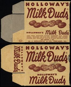 Holloway's – Milk Duds – candy box – Retro Recipes, Vintage Recipes, My Childhood Memories, Sweet Memories, Vintage Candy, Vintage Toys, Typography Letters, Lettering, Milk Duds
