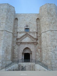 Castel del Monte, L'Aquila, region of Abruzzi, Italy. Built around 1240 by Frederick II of Hoenstaufen erected near Sanctam Mariam de Mone fierie voumus, but it's position on a mountain and orientation toward the sun indicate astronomical influence. Luxurious appointments indicate it was a state residence