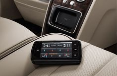 The new Bentley Flying Spur - interior. Rear seat functionality is controllable via the new Touch Screen Remote  Visit the New Flying Spur site for wallpapers, video and to explore our interactive features. Best viewed on desktop or laptop.