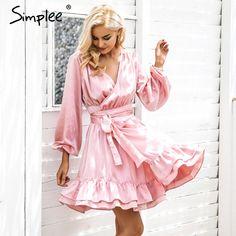 Price: $18.99 Like and Share if you want this     Get it here ---> https://www.yamidoo.com/simplee-satin-deep-v-neck-ruffle-wrap-dress-women-bow-belt-lantern-sleeve-pink-sexy-dress-robe-autumn-winter-short-dress-vestido/    #fashion