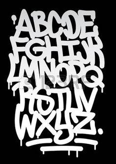 Hand geschreven graffiti lettertype alfabet Vector Stockfoto