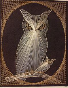 Nail and Thread Art Owl