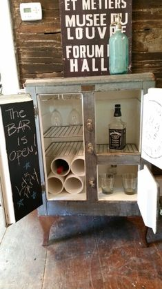 Antique ice box bar liquor wine cabinet by Zoey's #zoeysloft #repurposed #icebox #mancave