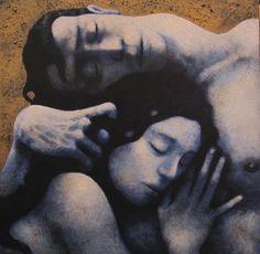 "Amantes 124"" Acrílico / Tabla 40 x 40 cm. Nicoletta Tomas Caravia © Nicoletta 2012"