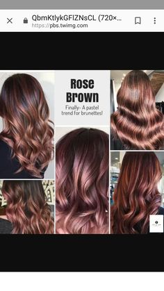 hair beauty - FrenchEconomie™️ Winter 2019 Hottest Hair Styles and Colours Rose Brown Hair Styles 2019 Brown Ombre Hair, Light Brown Hair, Brown Hair Colors, Rose Gold Brown Hair, Red Ombre, Brown Hair Rose Gold Highlights, Black Hair, Burgundy Hair, Winter Hairstyles