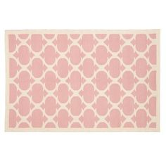 The Land of Nod | Kids' Rugs: Kids Pink Woven Cotton Rug in Patterned Rugs