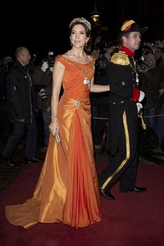 Crown Prince Frederik, and Crown Princess Mary of Denmark arrive at a New Year's Banquet  at Christian VII's Palace on 1 Jan 2013