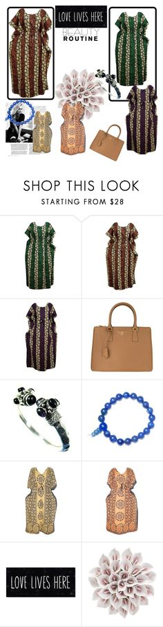 Bohemian Kaftan House Dress by tarini-tarini on Polyvore featuring Prada, Lazuli and Marc Jacobs