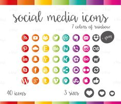 Social Media Icons Set Rainbow Colorful Colors Download Social Media Buttons, Social Media Icons, Icon Set, Rainbow Colors, Colorful, This Or That Questions, Website, Blog, Etsy