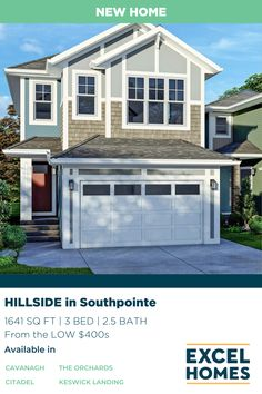 The Hillside offers flexibility for the growing family with modern, open concept living. Featuring 3 bedrooms, 2.5 bathrooms, and 1641 sq ft of living space starting from the low $400s! View the floorplans on our website at ExcelHomes.ca #CalgaryHomeBuilder #AlbertaRealEstate #ExcelHomes 3 Bedroom Home Floor Plans, House Floor Plans, Small House Design, Dream Home Design, Sink In Island, Concrete Driveways, Dining Nook, Luxury Vinyl Plank, Tile Installation