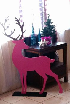 Shanley Garoy Silhouette CAMEO Project Inspiration  Not silhouette related but wanted to share my pretty pink reindeer . customer ordered 3 for his Christmas photoshoot. My jigsaw has always been my best friend  made from 3/8 plywood.