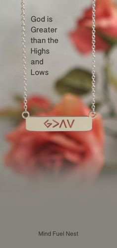 God Is Greater Than The Highs and Lows, Symbol Necklace Diamond Cross Necklaces, Drop Necklace, Meaningful Necklace, Inspirational Message, Brilliant Diamond, Cross Pendant, Mother Gifts, God Is Greater Than The Highs And Lows, Jewerly
