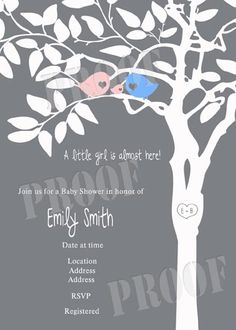 Personalized Birds Sitting in a Tree Baby Shower Invitations