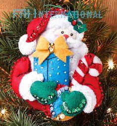 Bucilla Santa HIS Sleigh 6 PCE Felt Christmas Ornament KIT 86361 NEW 2012 | eBay