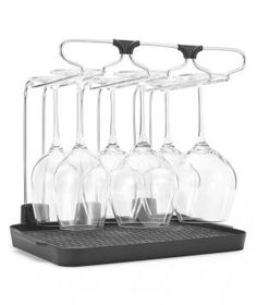 Meet the ultimate organizational system for wine lovers (next to a wine rack, that is). A wire frame holds up to six glasses by their stems, so they dry without water stains. Bonus: It's compact enough to stow in a cabinet.