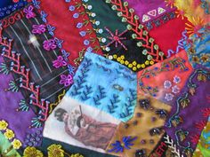 """Crazy Stitcher: """"Cat's and Geisha"""" Crazy Quilt Moving To California, Crazy Quilting, Some Pictures, Geisha, Embellishments, Reusable Tote Bags, Quilts, Cats, Ornaments"""
