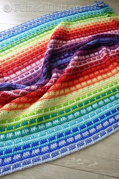 Felted Button - Colorful Crochet Patterns: Color Reel Blanket Ta-Dah!