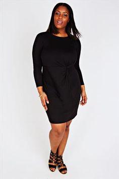 1467ae269d Black Jersey Shift Dress With Side Twist Detail Plus Size Dresses