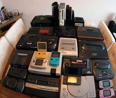 (L-R;B-F) Xbox, PS3, 360, Ps2(x2), GameCube, Sega Dreamcast, Sega Master system, Sega Saturn, Atari 2600, Sega Genesis w/ Sega CD, Super Famicom (branded SNES), Neo-Geo, N64, NES GBA SP, Neo-Geo Pocket, GB Color, Sega Master System 2, Sega Mega Drive, GameGear, Lynx, Atari 7800, Nintendo DS, PS1, GBA (blue and pink).
