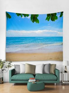 Sea Beach Sky 3D Print Wall Tapestry - DEEP SKY BLUE W79 X L59 INCH Cheap Wall Tapestries, Tapestry Wall Hanging, Cheap Art, Sunflower Pattern, Flowering Trees, Beach Themes, Flower Wall, Natural, Picnic Blanket