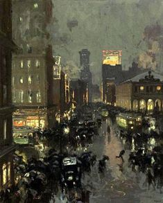 Charles Hoffbauer - Wintery Evening In Times Square