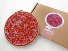 Fall Embroidery Kit Thanks Giving Gift Autumn Embroidery Kit Leaves Hoop Art Kit Hygge Project Beginner Needlework Easy Needle Craft by OhSewBootiful #embroidery #needlework #embroiderypattern #hoopart #diyembroidery #diyhoopart #embroiderykit #needlework #diygift #giftforcrafter